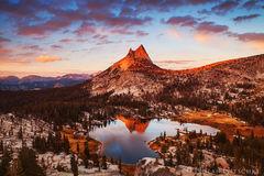 yosemite, national park, cathedral, peak, lake, upper, last, light