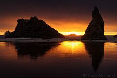 oregon, bandon, beach, sunset, sea, stacks