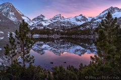bear creek spire, reflection, little lakes valley, sunset, inyo national forest, high sierra, sierra nevada
