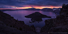 oregon, crater, crater lake, wizard, island, sunrise, sea stacks