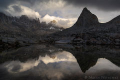 Isoscles, peak, mountain, reflection, dusy basin, storm, high sierra, sierra nevada