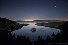 moon, light, moonlight, emerald bay, tahoe, lake, california, wizard island