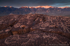 eastern sierra, california, owens valley, petroglyph, white peak, sunset