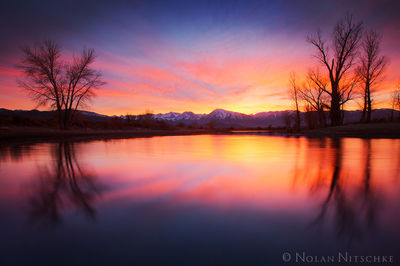 glow, reflecting, pond, owens valley, sunset, eastern sierra, california