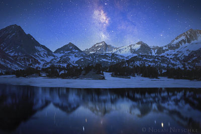 spires, bear creek, stars, milky way, refection, inyo national forest, little lakes, , high sierra, sierra nevada