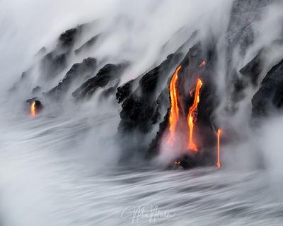 hawaii, big, island, volcano, national park, ocean, 61g, lava, flow