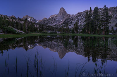 arrowhead lake, fin dome, twilight, kings canyon, national park, , high sierra, sierra nevada