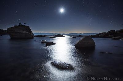 bonsai, rock, moonlight, moon, light, lake, tahoe, nevada
