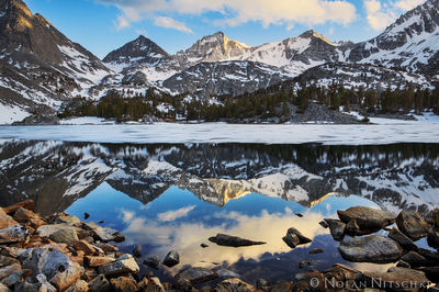 bear creek spire, little lakes valley, inyo national forest, reflection, sunset, high sierra, sierra nevada