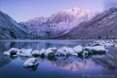 eastern sierra, sierra nevada, california, sierra, convict, lake, convict lake, sunrise, pink, purple, winter, snow, reflection, inyo national forest, mammoth lakes, mountain, laurel