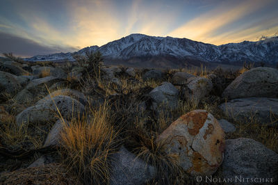 mt, tom, glow, sunset, owens valley, , eastern sierra, california