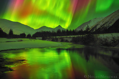 portage valley, , aurora borealis, aurora, northern lights, alaska