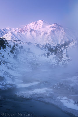 eastern sierra, sierra nevada, california, sierra, creek, hot, hot creek, snow, winter, laurel, mountain, winter, sunrise, pink, inyo national forest, mammoth lakes