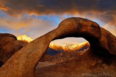 mobius, arch, alabama, hills, owens valley, storm, light, eastern sierra, california