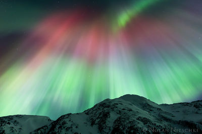 portage, valley, mountain, aurora borealis, aurora, northern lights, alaska