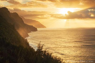 sun, rays, na pali, coast, kauai,