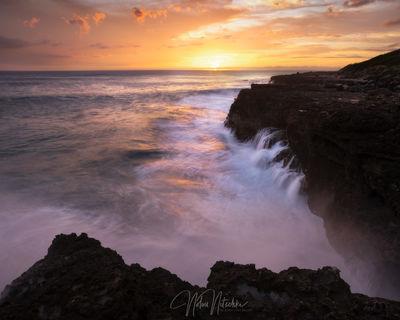 hawaii, oahu, ka'ena, kaena, state, park, oahu, setting, sun, wave, crashing, coast, coastline