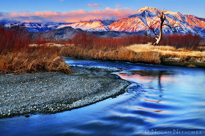 owens river, valley, sunrise, , eastern sierra, california, owens valley
