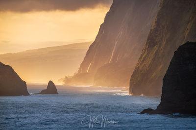 hawaii, pololu, valley, big, island, first, light, cliff, waterfall