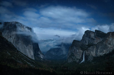 tunnel view, yosemite, national park, moon, moonlight,