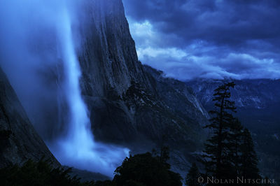 yosemite, national park, upper, falls, storm, fog. clearing