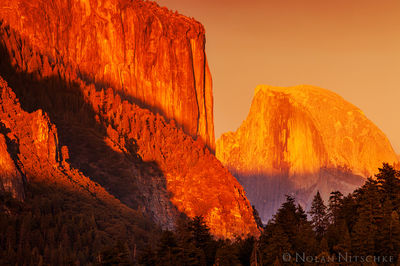 half dome, yosemite, national park, vibrant, orange, sunset