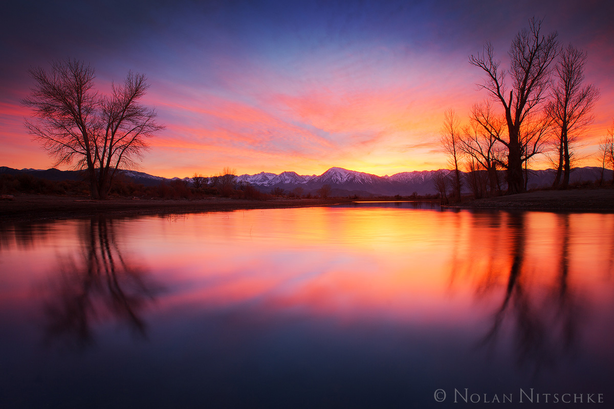 glow, reflecting, pond, owens valley, sunset, eastern sierra, california, photo