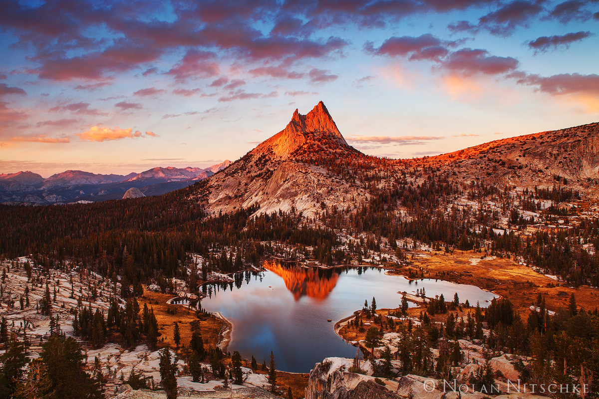 yosemite, national park, cathedral, peak, lake, upper, last, light, photo