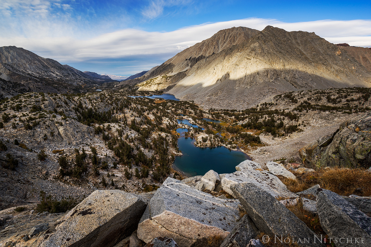 looking, down, little lakes valley, lenticular, inyo national forest, high sierra, sierra nevada, photo