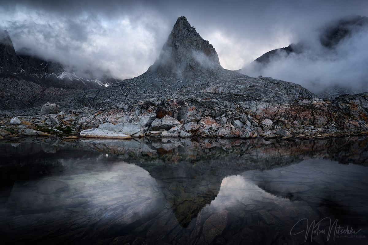 Dusy Basin during a clearing storm in the High Sierra.