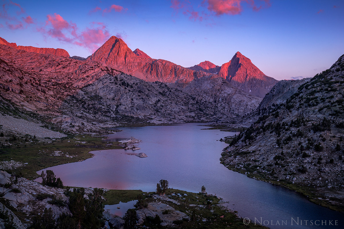 kings canyon, national park, evolution valley, evolution, sunset, lake, high sierra, sierra nevada, photo