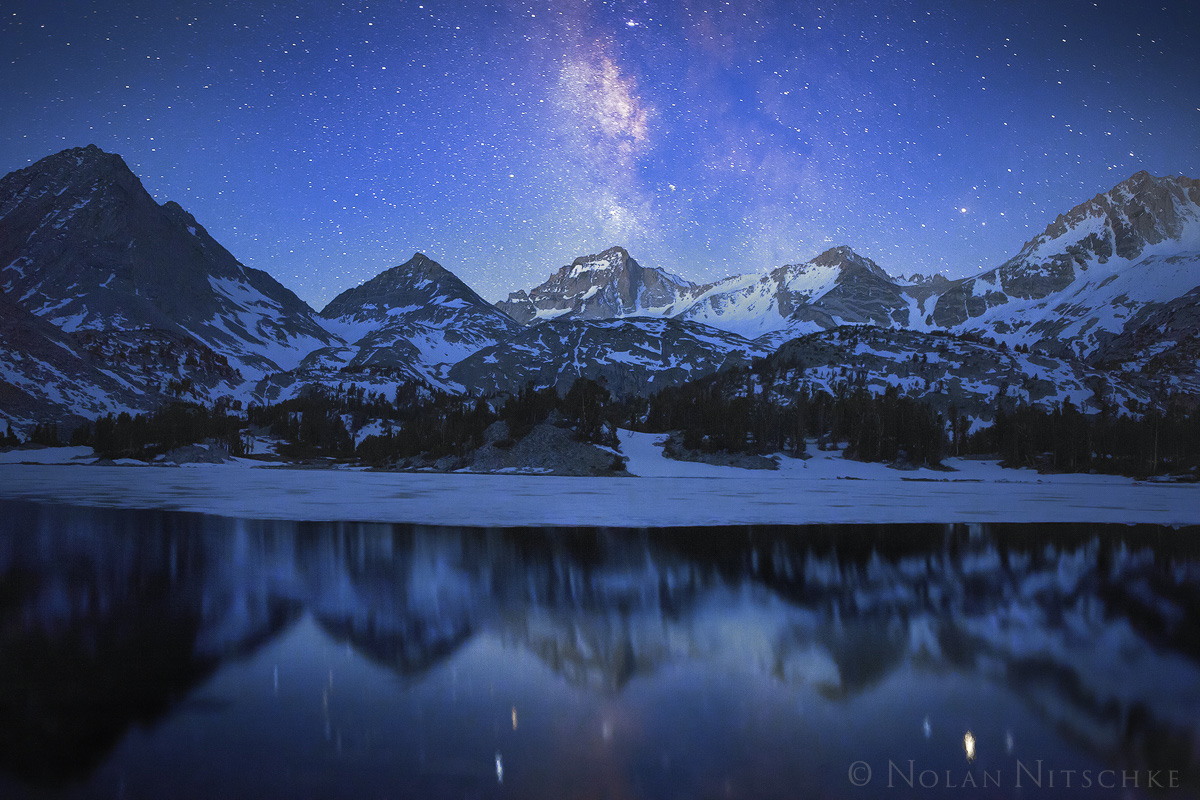 spires, bear creek, stars, milky way, refection, inyo national forest, little lakes, , high sierra, sierra nevada, photo