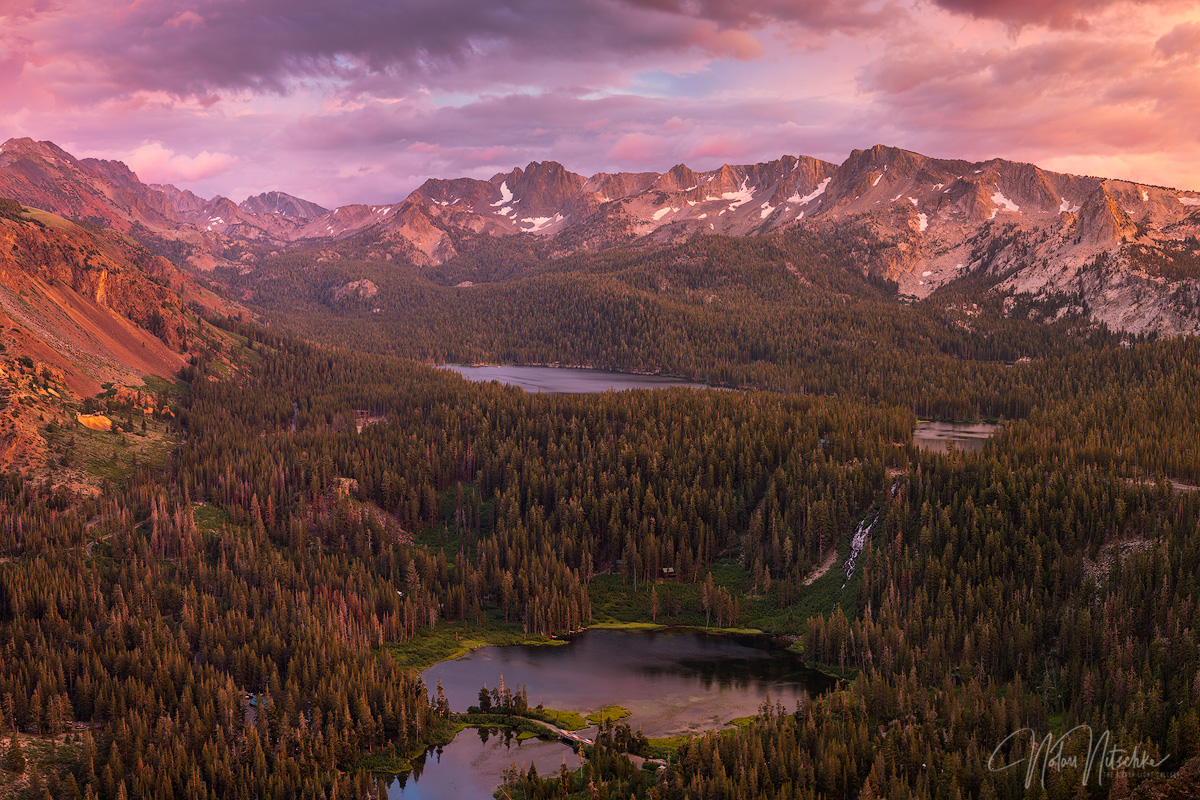 Looking down onto Twin, Mary, Mamie, and George Lake in the Mammoth Lakes Basin.