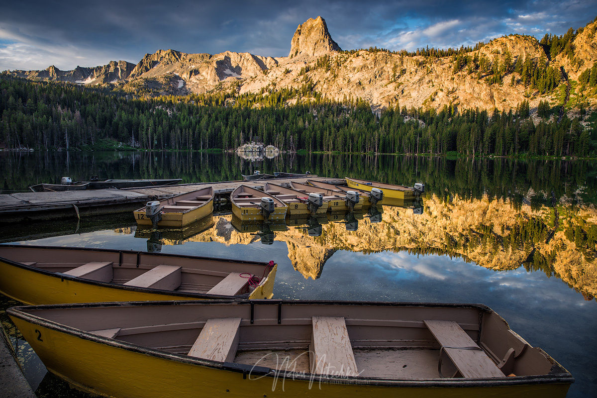 mammoth lakes, lake, george, basin, crystal crag, california, boat, docks, photo