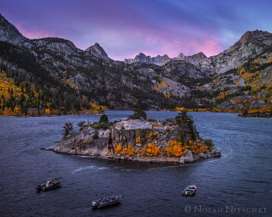 A stormy and very windy morning along Lake Sabrina at sunrise.