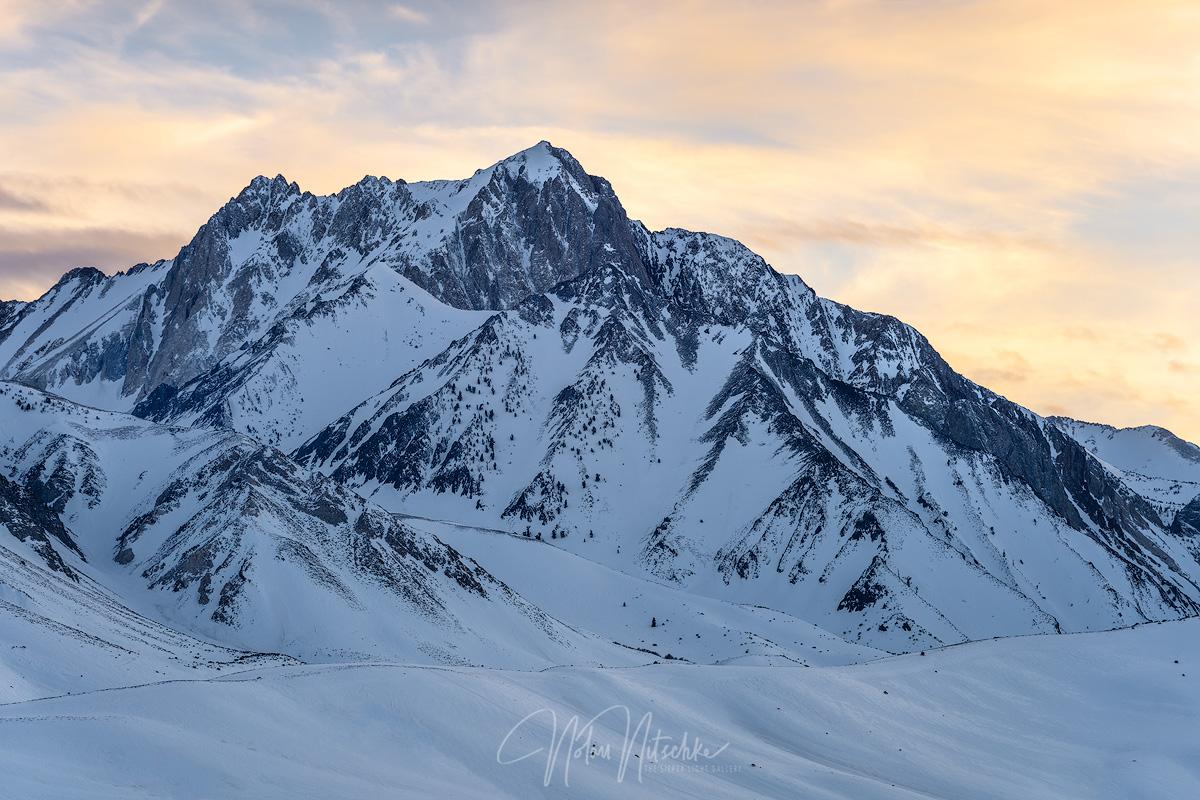 Mt. Morrison under the golden glow of sunset.