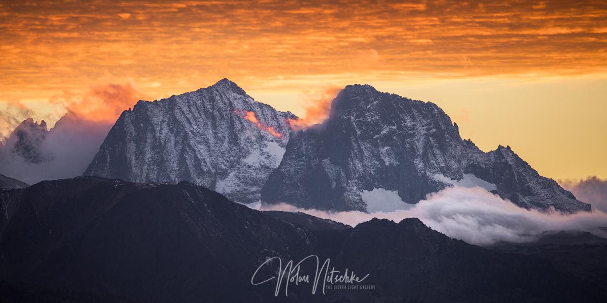mammoth lakes, california, winter, ritter, banner, peak, snow, sunset, photo