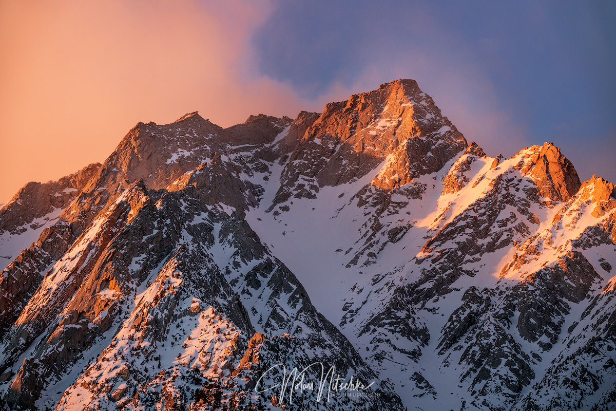 Early morning light on Lone Pine Peak after a fresh winter storm.