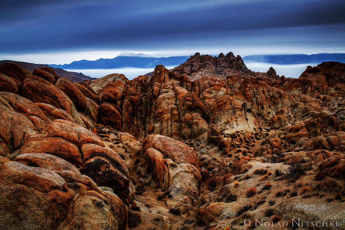 alabama hills, storm, long, exposure, clouds, fog, eastern sierra, california, owens valley, photo