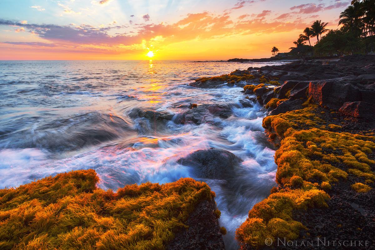 A beautiful Hawaiian sunset at Alakala.