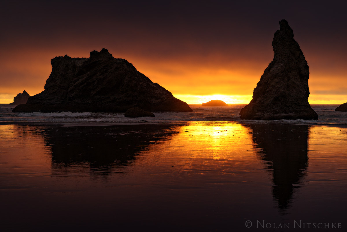 oregon, bandon, beach, sunset, sea, stacks, photo