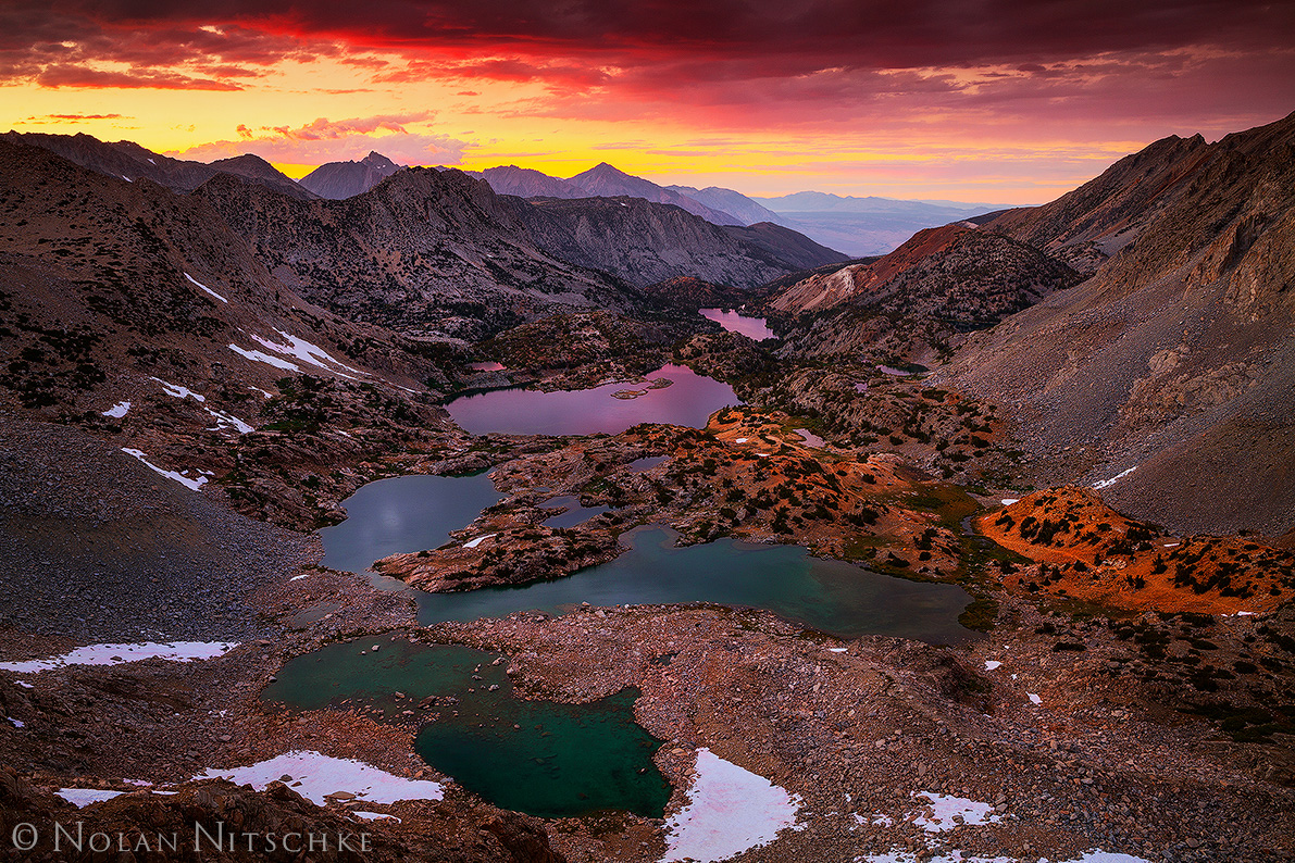 bishop pass, sunset, lakes, mountains, tom, humphreys, long, saddlerock, creek, glass, kings canyon, national park, inyo national forest, high sierra, sierra nevada, photo