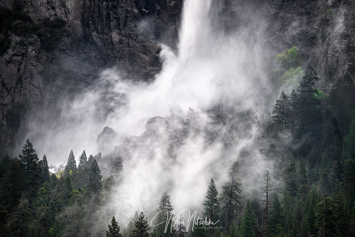 yosemite, national park, california, bridalveil, falls, spring, forest, mist, fog, ssierra, sierra nevada, photo