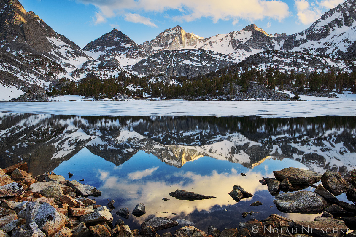 bear creek spire, little lakes valley, inyo national forest, reflection, sunset, high sierra, sierra nevada, photo