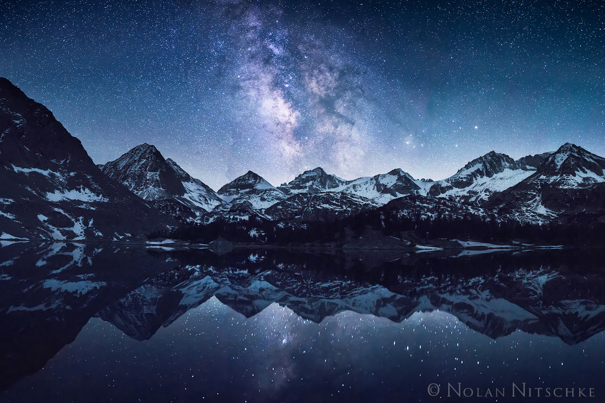 milky way, galaxy, bear creek, spire, reflection, little lakes valley, inyo national forest, , high sierra, sierra nevada, photo