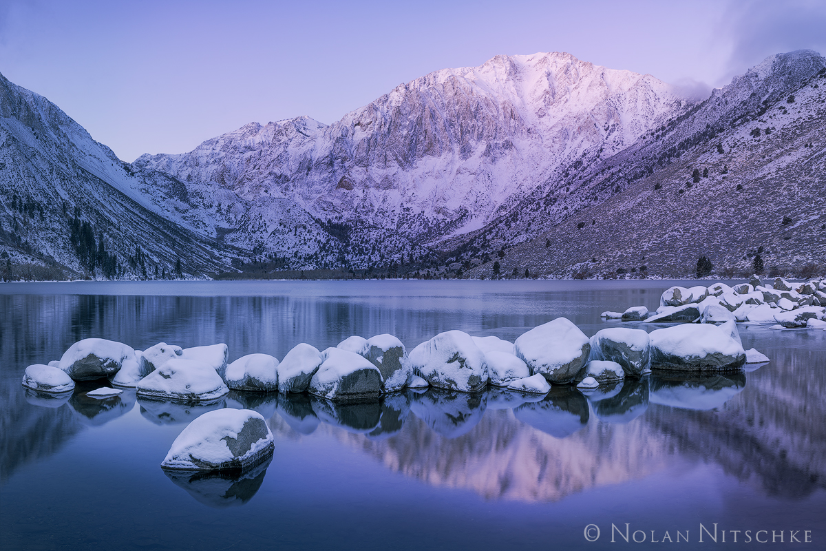 eastern sierra, sierra nevada, california, sierra, convict, lake, convict lake, sunrise, pink, purple, winter, snow, reflection, inyo national forest, mammoth lakes, mountain, laurel, photo