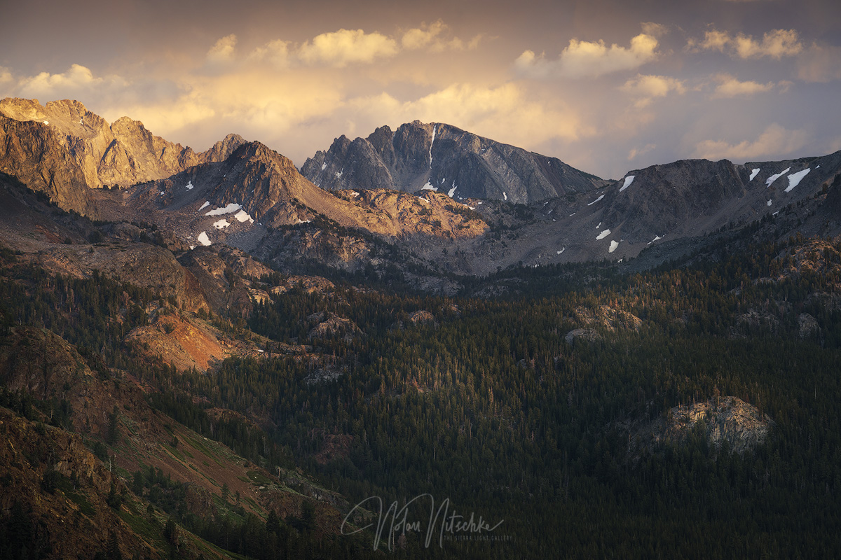 Looking up toward Duck Pass out of the Mammoth Lakes Basin at sunset.