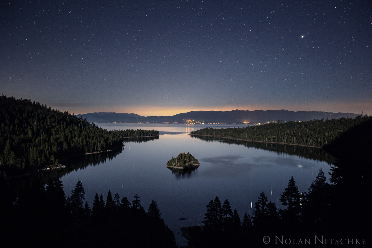 moon, light, moonlight, emerald bay, tahoe, lake, california, wizard island, photo