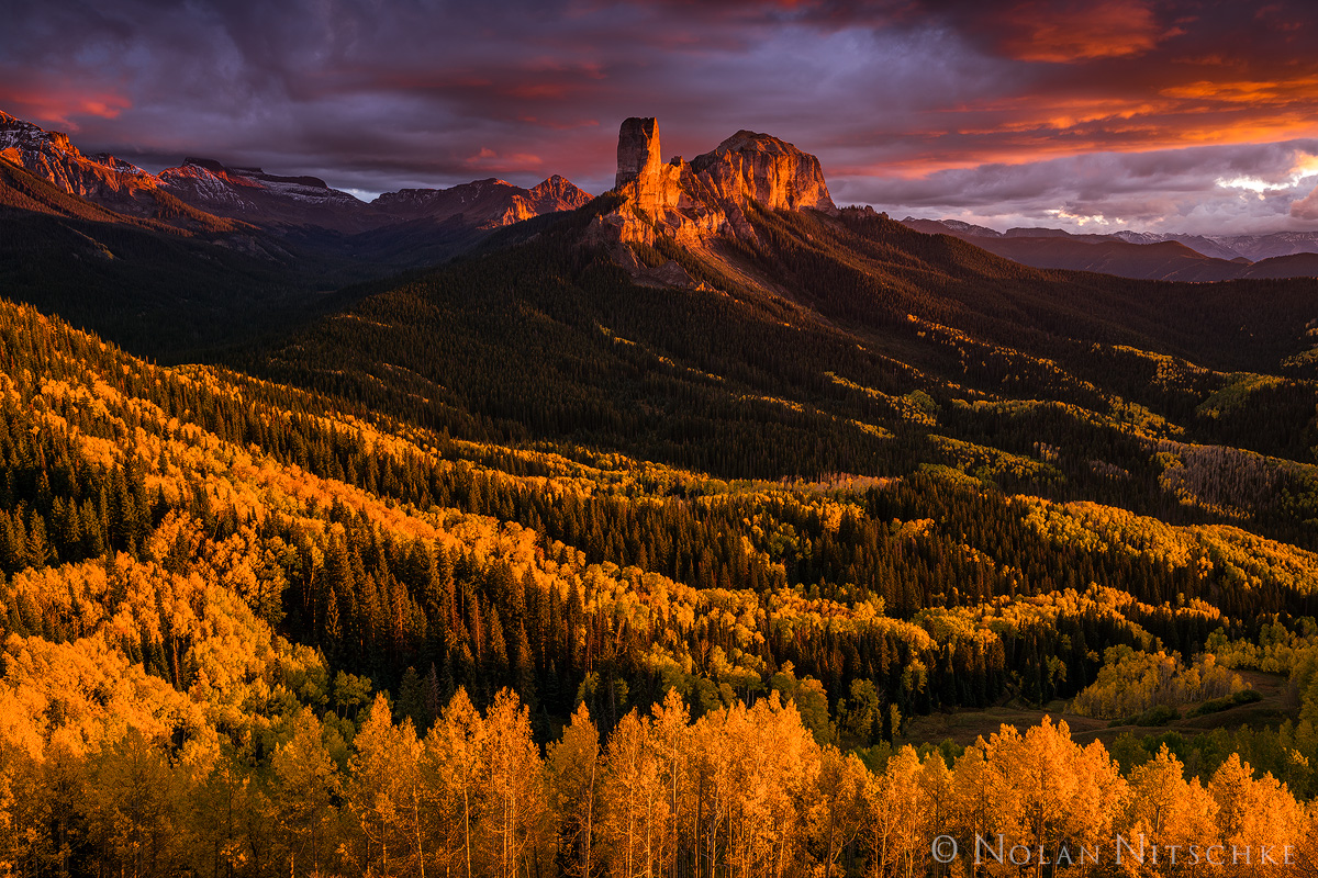 owl, creek, pass, chimney, rock, fall, color, sunset, color, colorado, Uncompahgre National Forest, photo