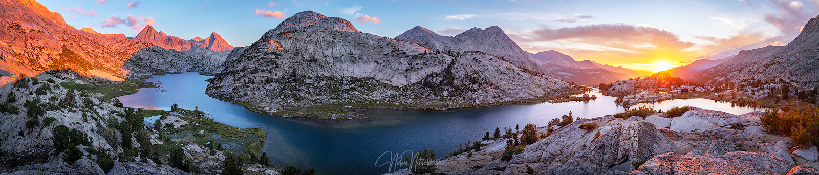 A panoramic view of what I consider to be the heart of the sierra, Evolution Lake and Evolution Valley at sunset in the Sierra...